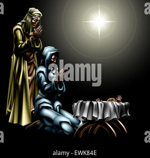 Christian Christmas Nativity Scene of baby Jesus in the manger with Mary and Joseph with the star above - Stock Photo