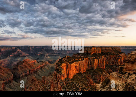 Civil twilight on Wotans Throne from Cape Royal along the North Rim of Arizona's Grand Canyon National Park. - Stock Photo