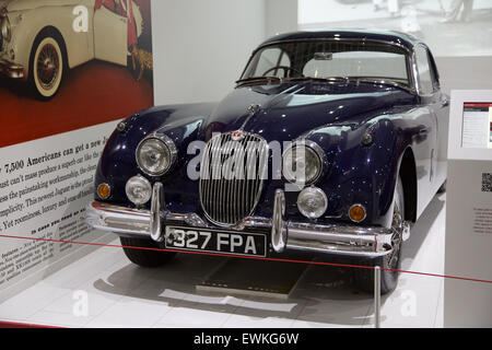 Vintage Jaguar on display at Coventry Transport Museum - Stock Photo
