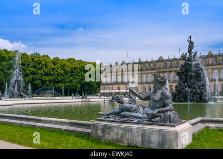 Fountain in the castle gardens, park, Schloss Neuschwanstein, castle, Insel Herrenchiemsee island, Chiemsee lake, - Stock Photo