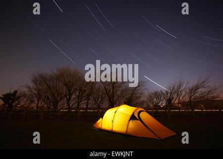 Camping under the stars. Devon. UK. - Stock Photo