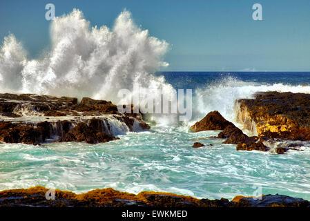 Breaking wave. Hawaii, The Big Island. - Stock Photo