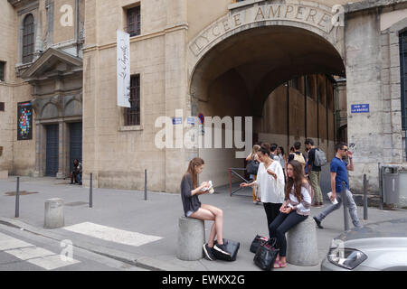 Students pupils oustide Lycee Ampere college in Lyon France - Stock Photo