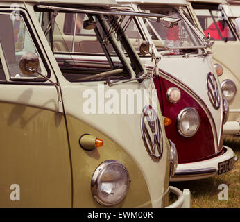 Classic Volkswagen camper vans lined up  at Volksfest Bristol. - Stock Photo