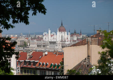 The view of the Hungarian Parliament in Budapest from the Castle Hill district on the Pest side - Stock Photo