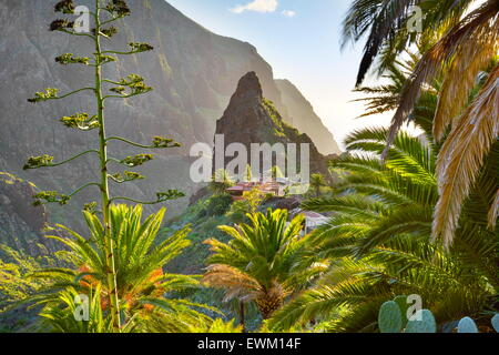 Masca village with its characteristic pinnacle in the center, Tenerife, Canary Islands - Stock Photo