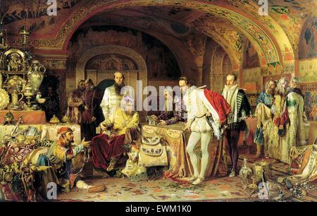 Ivan the Terrible Showing His Treasures to Jerome Horsey by Alexander Litovchenko - Stock Photo