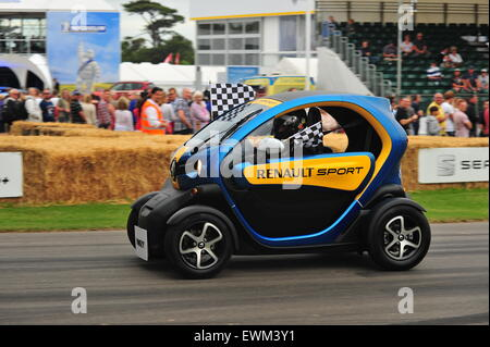 An electric Renault Twizy at the Goodwood Festival of Speed. Racing drivers, celebrities and thousands of members - Stock Photo