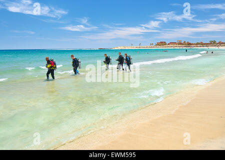 Divers in  Abu Dabbab Bay, Marsa Alam, Red Sea, Egypt - Stock Photo