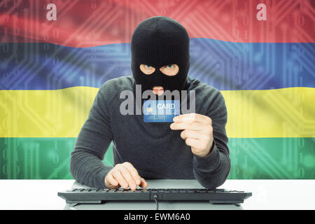 Cybercrime concept with flag on background - Mauritius - Stock Photo