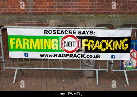 Anti-Fracking protester's slogans as the demonstrate outside Lancashire County Council chambers, Pitt Street, Preston, - Stock Photo
