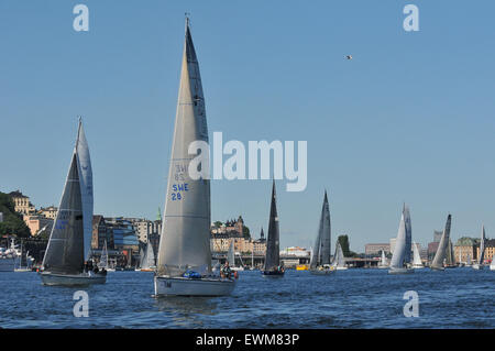 Stockholm, Sweden. 28th June, 2015. Sailboats compete in the AF Offshore Race, hosted by the Royal Swedish Yacht - Stock Photo