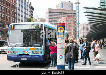 Sydney bus at a bus stop near Central railway station,Chippendale,Sydney,Australia - Stock Photo