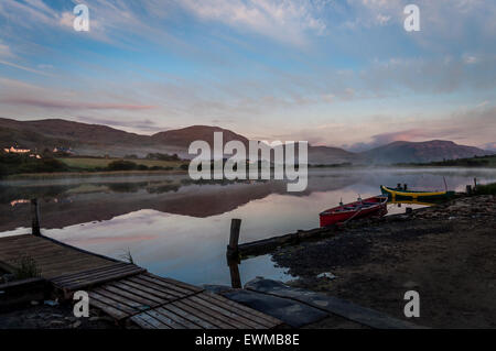 Dawn over Lake Shanaghan, Ardara, County Donegal, Ireland - Stock Photo