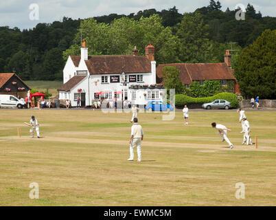 Village cricket Tilford. - Stock Photo