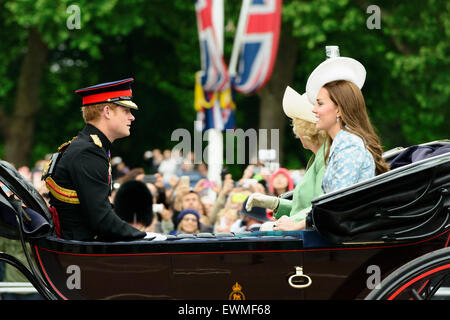 Carriage with Harry, Prince of Wales, Camilla Duchess of Cornwall and Kate, Duchess of Cambridge, Trooping the Colour, - Stock Photo
