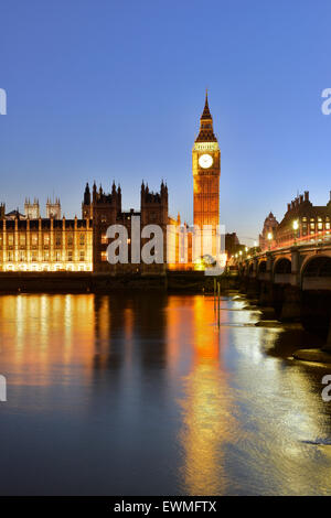 Big Ben and Houses of Parliament, Thames, London, England, United Kingdom - Stock Photo