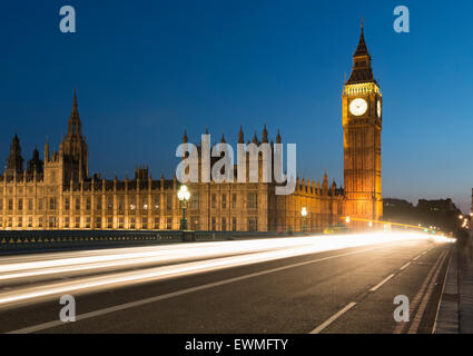 Big Ben and Houses of Parliament, Westminster Bridge, London, England, United Kingdom - Stock Photo