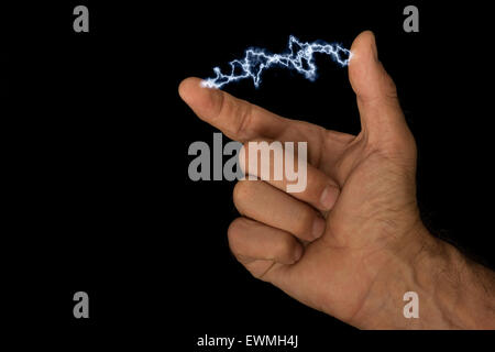 Electricity at your fingertips electrical current voltage possible flexible films of thermoelectric material - Stock Photo