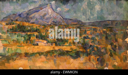 Paul Cezanne (1839-1906). Mont Sainte-Victoire, ca, 1902-6. Oil on canvas. Metropolitan of art. Ny. USA. Post-Impressionist. - Stock Photo