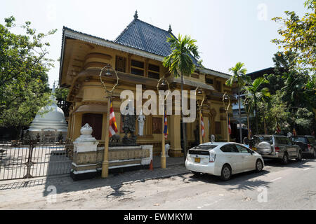 Gangaramaya Buddhist Temple is the most famous and iconic Buddhist place of worship in Colombo.    The temple is - Stock Photo