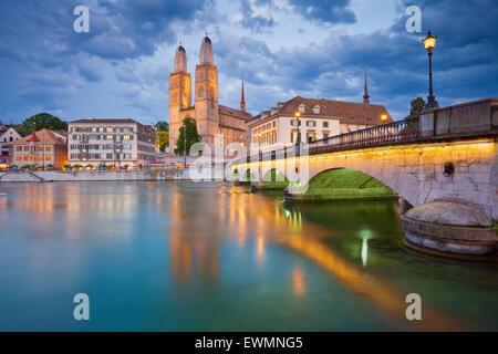 Zurich. Image of Zurich with Grossmünster during twilight. - Stock Photo