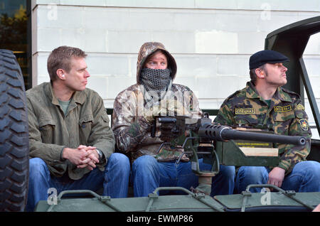 LONDON - MAY 14 2015:British soldiers dress as Militia during military show in London, UK.It's a fighting force - Stock Photo