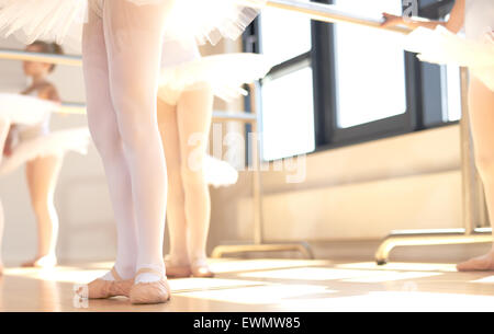 Young ballerinas wearing pointe shoes, the special reinforced satin shoes allowing a ballet dancer to stand on tip - Stock Photo