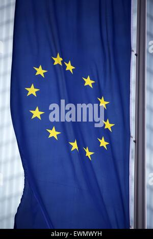 Frankfurt, Germany. 29th June, 2015. The flag of the European Union sways in the wind in front of the headquarter - Stock Photo