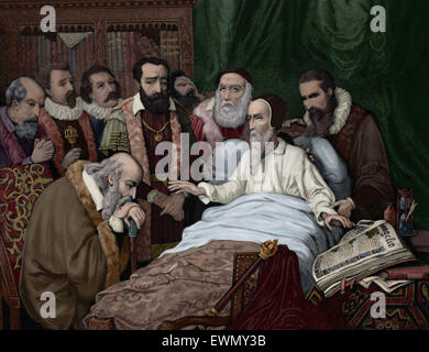John Calvin (1509-1564). French theologian and reformer. Last moments of Calvin. Engraving, 1882. Colored. - Stock Photo
