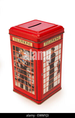 avings, money boxes, red british k6 phone box, telephone kiosk - Stock Photo