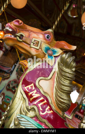 UK, England, Cheshire, Chelford, Astle Park Traction Engine Rally, traditional carousel roundabout horse - Stock Photo