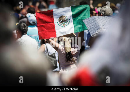 Vatican City, Vatican. 29th June, 2015. A faithful waves the Mexico flag during the Angelus prayer on the Solemnity - Stock Photo