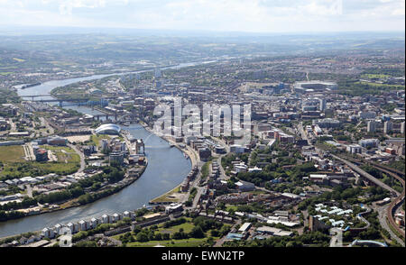 aerial view of The River Tyne, Gateshead and Newcastle upon Tyne, UK - Stock Photo