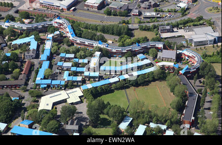aerial view of council housing at Byker, Newcastle upon Tyne, UK - Stock Photo
