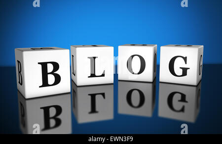 Blogging, web and Internet concept with blog word sign on cubes with reflection and blue background for online business. - Stock Photo