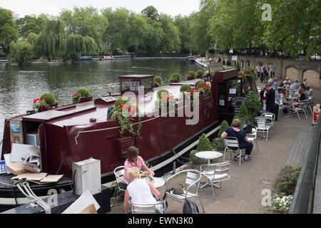The Waterside Café at London's Little Venice near Maida Vale - Stock Photo