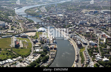 aerial view of The River Tyne, Gateshead and Newcastle upon Tyne, Tyne & Wear, UK - Stock Photo