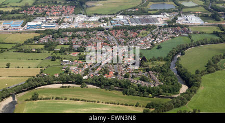 aerial view of Brompton on Swale village near Richmond, North Yorkshire, UK - Stock Photo