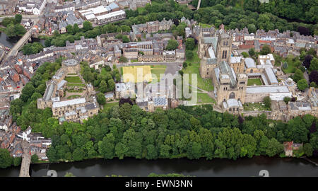 aerial view of Durham University & Cathedral, UK - Stock Photo