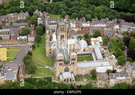 aerial view of Durham Cathedral and University, UK - Stock Photo