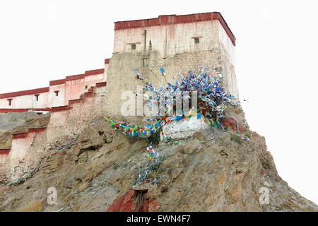 The 1394 AD.built Dzong-fort seen from the lower part of the town at 3977 ms. Gyantse city and county-Shigatse pref. - Stock Photo