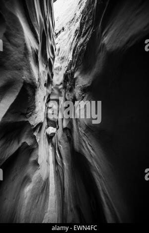 Abstract Sandstone Background Pattern Slot Canyon - Black and White photography - Stock Photo