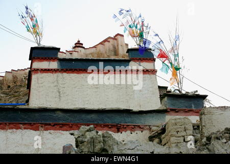 The 1394 AD.built Dzong-fort seen from over a townhome in the lower part of the town at 3977 ms. Gyantse city and - Stock Photo