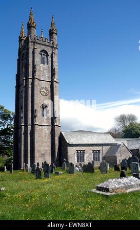 St. Pancras church  Widecombe in the Moor  Devon England UK - Stock Photo