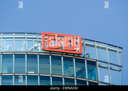 DB Tower at the Potsdamer Square, detail of facade with logo of the German Railway Deutsche Bahn Berlin Germany - Stock Photo