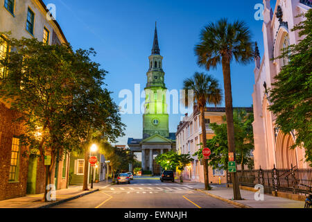 Charleston, South Carolina, USA view of the French Quarter at Twilight. - Stock Photo