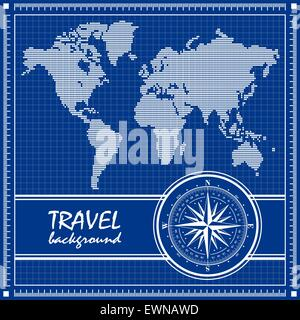 Blueprint. Travel background with dotted world map and compass rose. Vector illustration. - Stock Photo