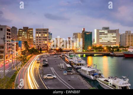 Naha, Okinawa, Japan cityscape at Tomari Port. - Stock Photo