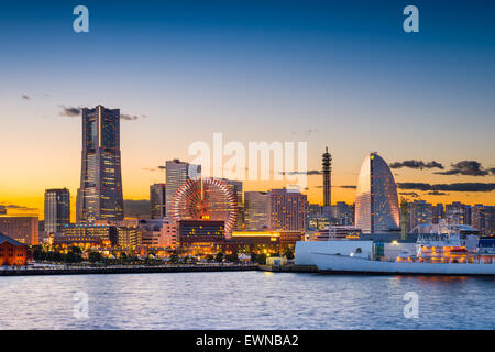 Yokohama, Japan sunset skyline. - Stock Photo